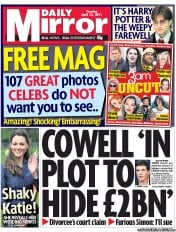 Daily Mirror (UK) Newspaper Front Page for 12 April 2011