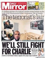 Daily Mirror (UK) Newspaper Front Page for 12 April 2017