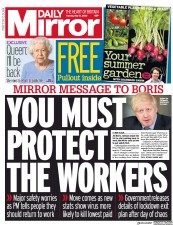 Daily Mirror front page for 12 May 2020