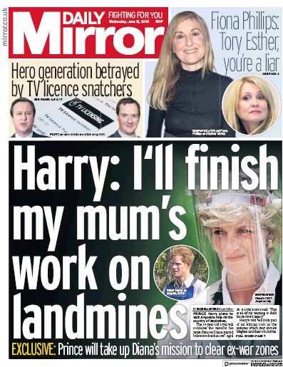 Daily Mirror Newspaper Front Page (UK) for 12 June 2019