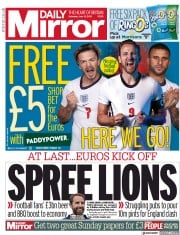 Daily Mirror () Newspaper Front Page for 12 June 2021