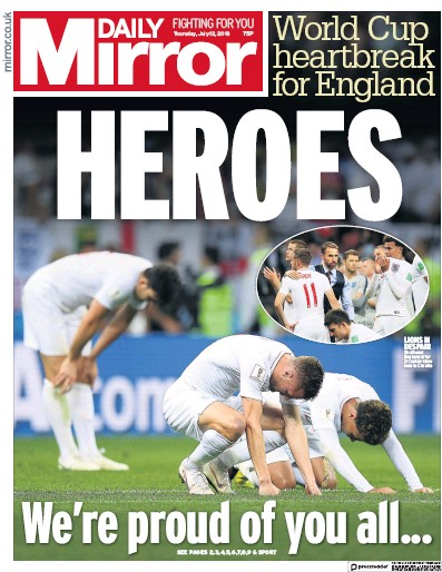 Daily Mirror Newspaper Front Page (UK) for 12 July 2018