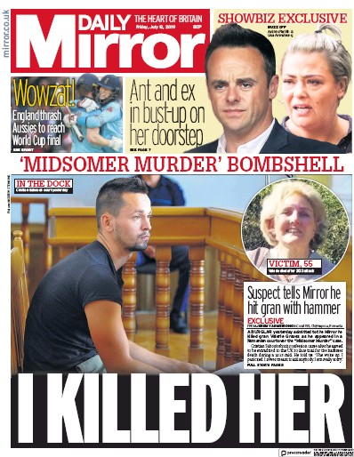 Daily Mirror Newspaper Front Page (UK) for 12 July 2019