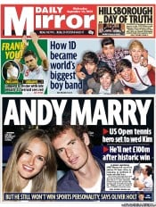 Daily Mirror Newspaper Front Page (UK) for 12 September 2012