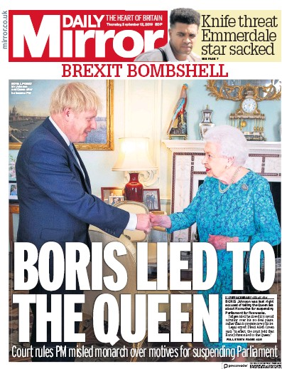 Daily Mirror Newspaper Front Page (UK) for 12 September 2019
