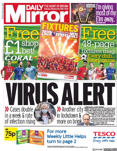 Daily Mirror Newspaper Front Page (UK) for 12 September 2020