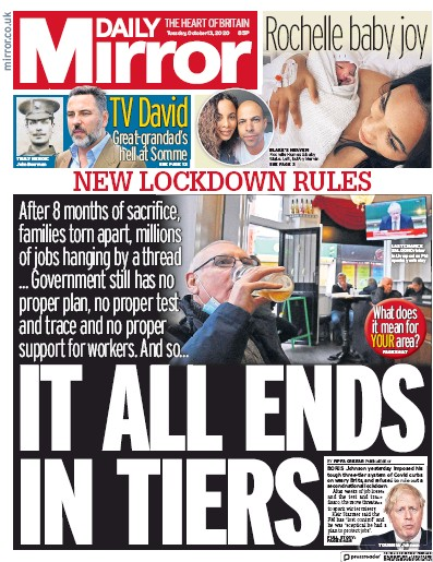 Daily Mirror Newspaper Front Page (UK) for 13 October 2020