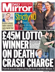 Daily Mirror front page for 13 November 2020