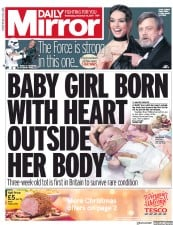 Daily Mirror (UK) Newspaper Front Page for 13 December 2017