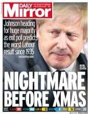 Daily Mirror (UK) Newspaper Front Page for 13 December 2019