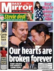 Daily Mirror Newspaper Front Page (UK) for 13 January 2012