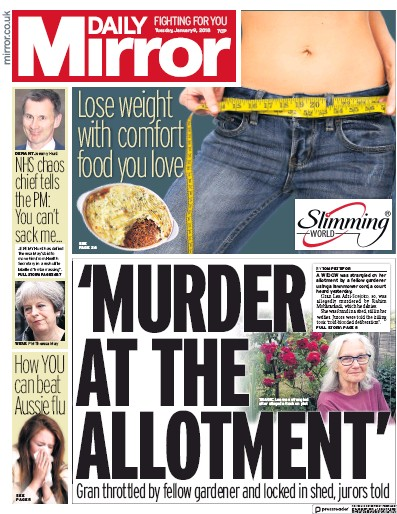 Daily Mirror Newspaper Front Page (UK) for 13 January 2018