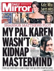 Daily Mirror (UK) Newspaper Front Page for 13 February 2017