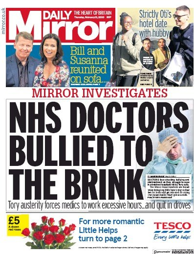 Daily Mirror Newspaper Front Page (UK) for 13 February 2020