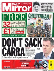 Daily Mirror (UK) Newspaper Front Page for 13 March 2018