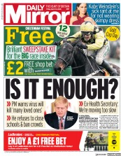 Daily Mirror (UK) Newspaper Front Page for 13 March 2020