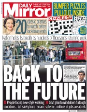 Daily Mirror (UK) Newspaper Front Page for 13 May 2020