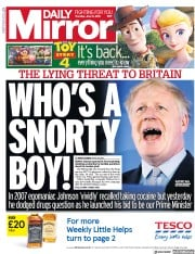 Daily Mirror (UK) Newspaper Front Page for 13 June 2019