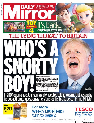 Daily Mirror Newspaper Front Page (UK) for 13 June 2019