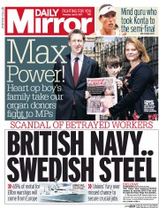 Daily Mirror (UK) Newspaper Front Page for 13 July 2017