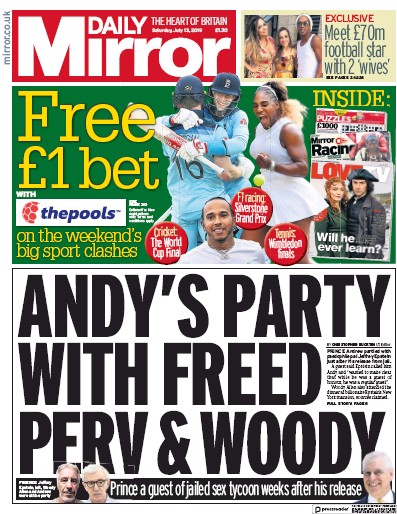 Daily Mirror Newspaper Front Page (UK) for 13 July 2019