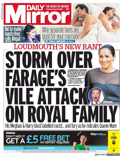 Daily Mirror Newspaper Front Page (UK) for 13 August 2019