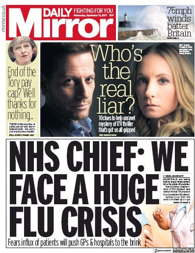 Daily Mirror Newspaper Front Page (UK) for 13 September 2017