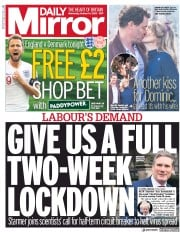 Daily Mirror front page for 14 October 2020