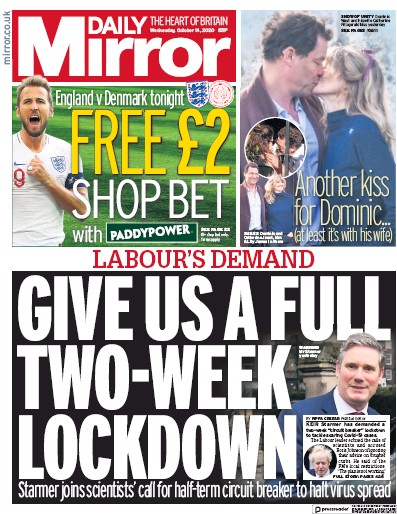 Daily Mirror Newspaper Front Page (UK) for 14 October 2020