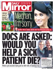 Daily Mirror (UK) Newspaper Front Page for 14 January 2019