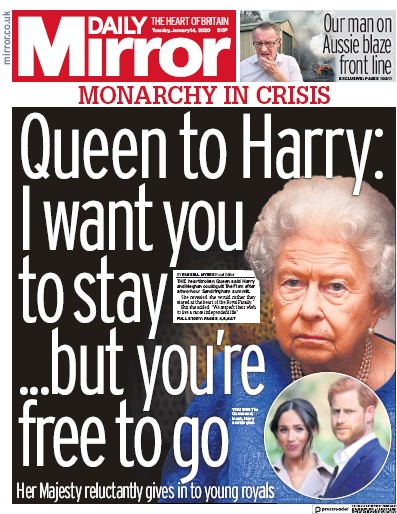 Daily Mirror Newspaper Front Page (UK) for 14 January 2020
