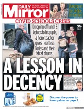 Daily Mirror front page for 14 January 2021