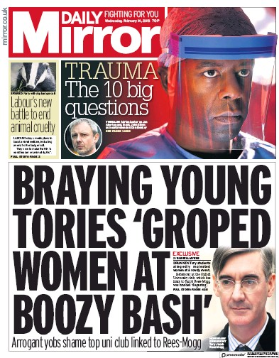 Daily Mirror Newspaper Front Page (UK) for 14 February 2018