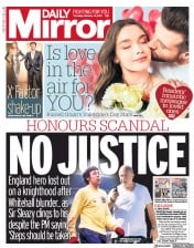 Daily Mirror (UK) Newspaper Front Page for 14 February 2019