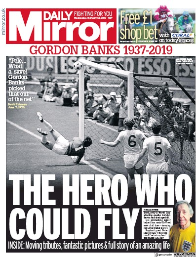 Daily Mirror Newspaper Front Page (UK) for 14 February 2019