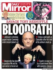 Daily Mirror (UK) Newspaper Front Page for 14 February 2020