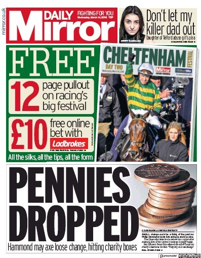 Daily Mirror Newspaper Front Page (UK) for 14 March 2018