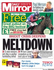 Daily Mirror (UK) Newspaper Front Page for 14 March 2019