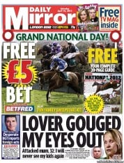 Daily Mirror Newspaper Front Page (UK) for 14 April 2012