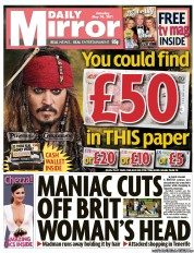 Daily Mirror Newspaper Front Page (UK) for 14 May 2011