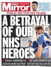 Daily Mirror front page for 14 May 2020