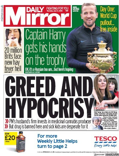 Daily Mirror Newspaper Front Page (UK) for 14 June 2018