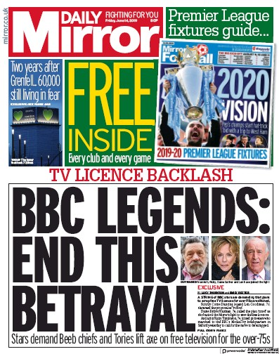 Daily Mirror Newspaper Front Page (UK) for 14 June 2019