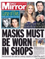 Daily Mirror front page for 14 July 2020
