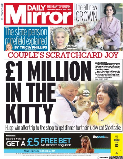 Daily Mirror Newspaper Front Page (UK) for 14 August 2019