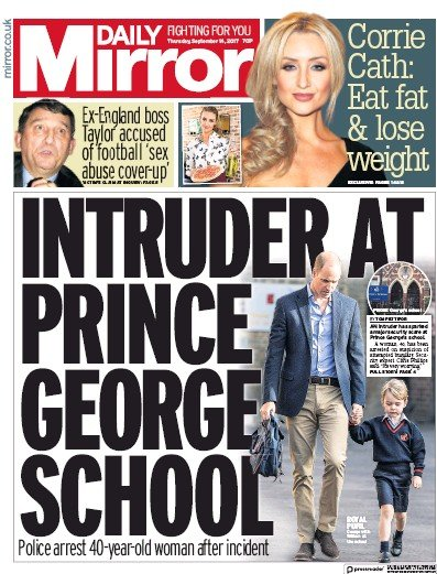 Daily Mirror Newspaper Front Page (UK) for 14 September 2017