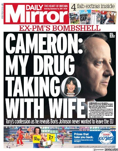 Daily Mirror Newspaper Front Page (UK) for 14 September 2019
