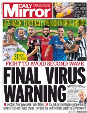 Daily Mirror front page for 14 September 2020