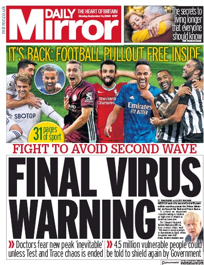 Daily Mirror Newspaper Front Page (UK) for 14 September 2020