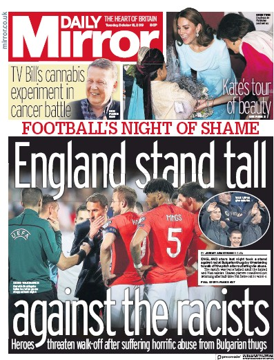 Daily Mirror Newspaper Front Page (UK) for 15 October 2019